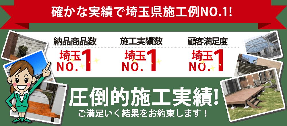 納品商品数埼玉№1、施工実績数埼玉№1、顧客満足度埼玉№1