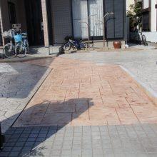 駐車場をスタンプコンクリートで NO.107の施工写真1
