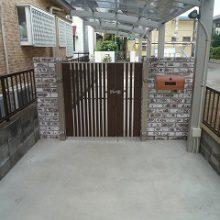 シックなレンガにモダンな門扉の調和 NO.153の施工写真3