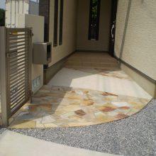 石貼りのアプローチでオシャレに NO.297の施工写真1