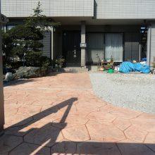 スタンプコンクリートと跳ね上げ門扉 NO.347の施工写真2