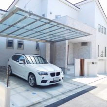 白を基調に門柱の配置がポイント NO.470の施工写真