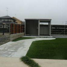 門柱と石貼りアプローチ NO.497の施工写真3