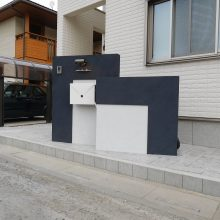 モダンな門塀に封筒型のポスト NO.544の施工写真2