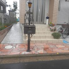 スタンプコンクリート2種類と石貼りアプローチ NO.653の施工写真0