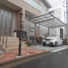 スタンプコンクリート2種類と石貼りアプローチ NO.653の施工写真1
