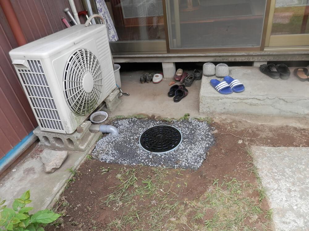 庭の水溜まりを雨水枡で解決 NO.678の施工写真