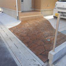 渋い色のスタンプコンクリート NO.791の施工写真