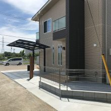 ウッドデッキに合わせた機能門柱 NO.929の施工写真0