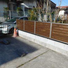 木目調の門扉とフェンス NO.1030の施工写真1