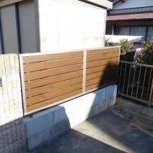 木目調の門扉とフェンス NO.1030の施工写真0