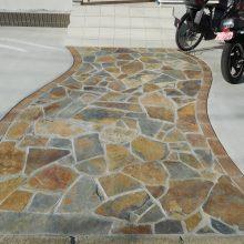 レンガ調の門柱 NO.1062の施工写真1