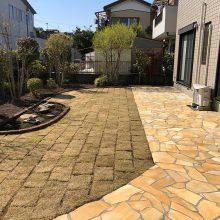お庭を石貼りでリフォーム NO.1093の施工写真3