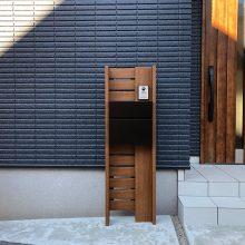 木調色の機能門柱と目隠しフェンス NO.1178の施工写真メイン